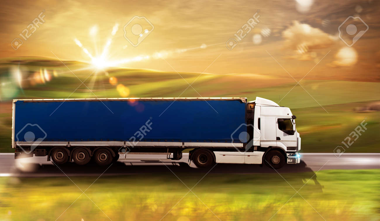 Transport truck on road with natural landscape Standard-Bild - 58463511
