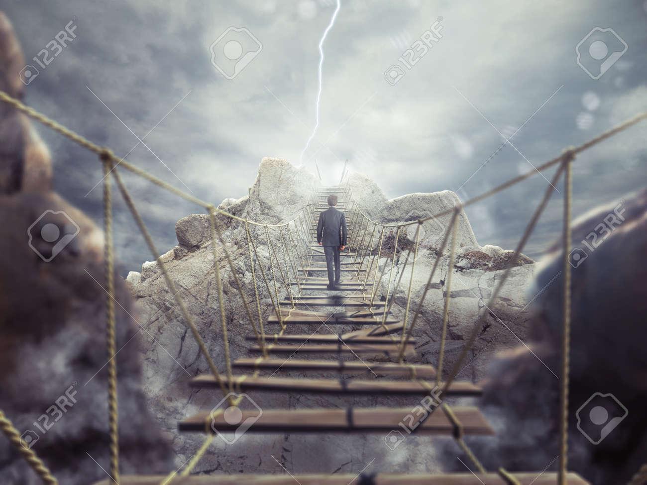 3D Rendering of man walks over a crumbling bridge - 58988787