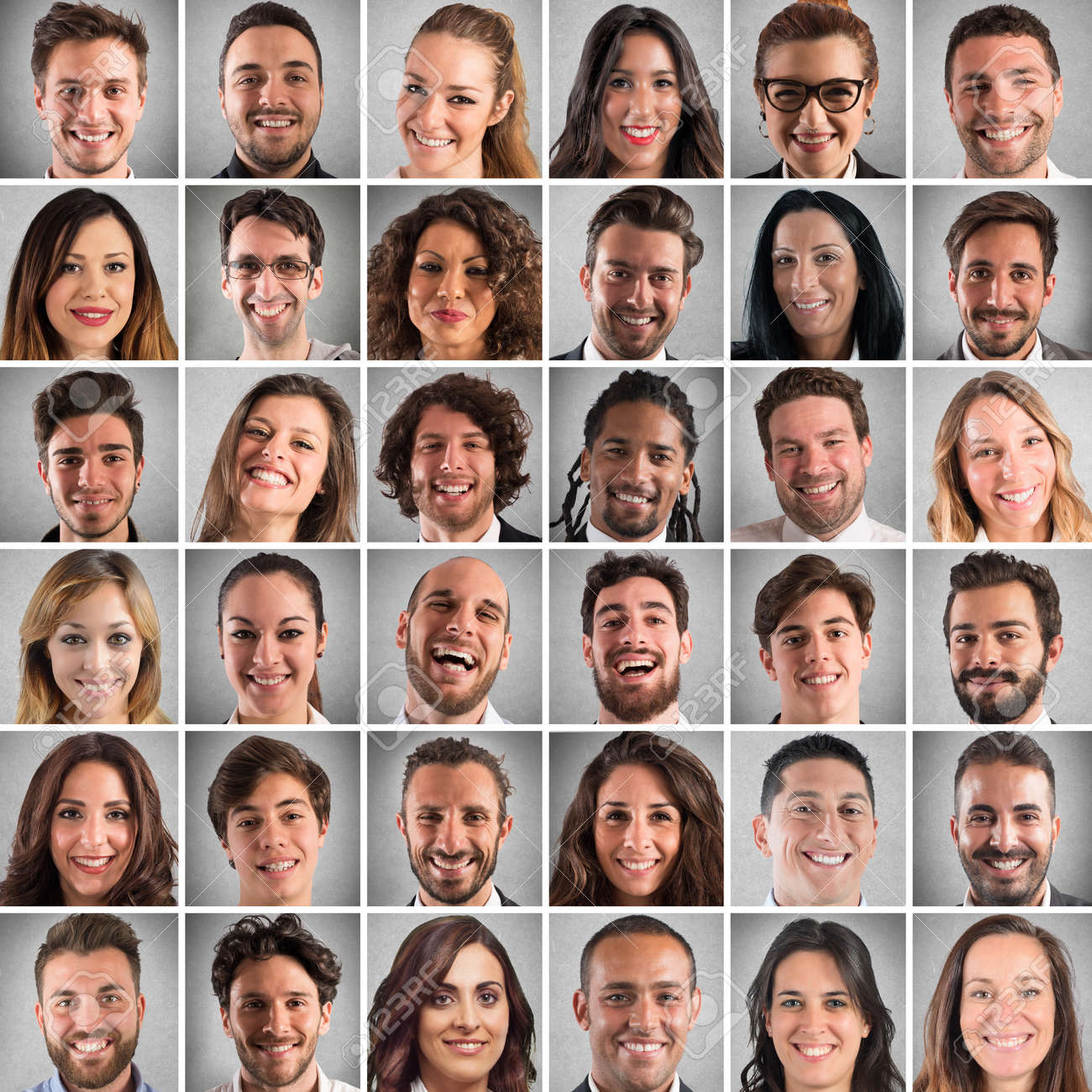 Collage of smiling faces of men and women Standard-Bild - 59132386