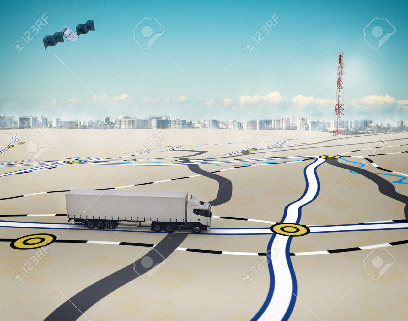 3D Rendering trucks on the road with path traced by satellite Standard-Bild - 62101394