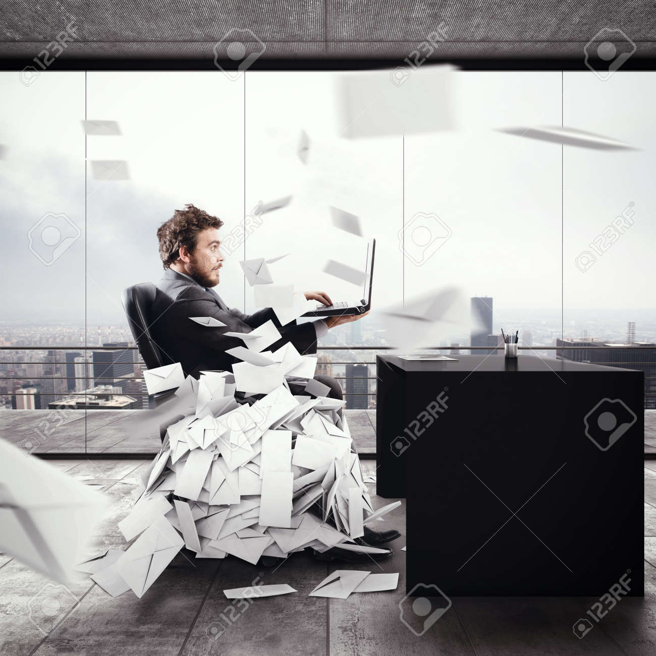 Desperate man in office for too many e-mail. 3D Rendering Standard-Bild - 62101433