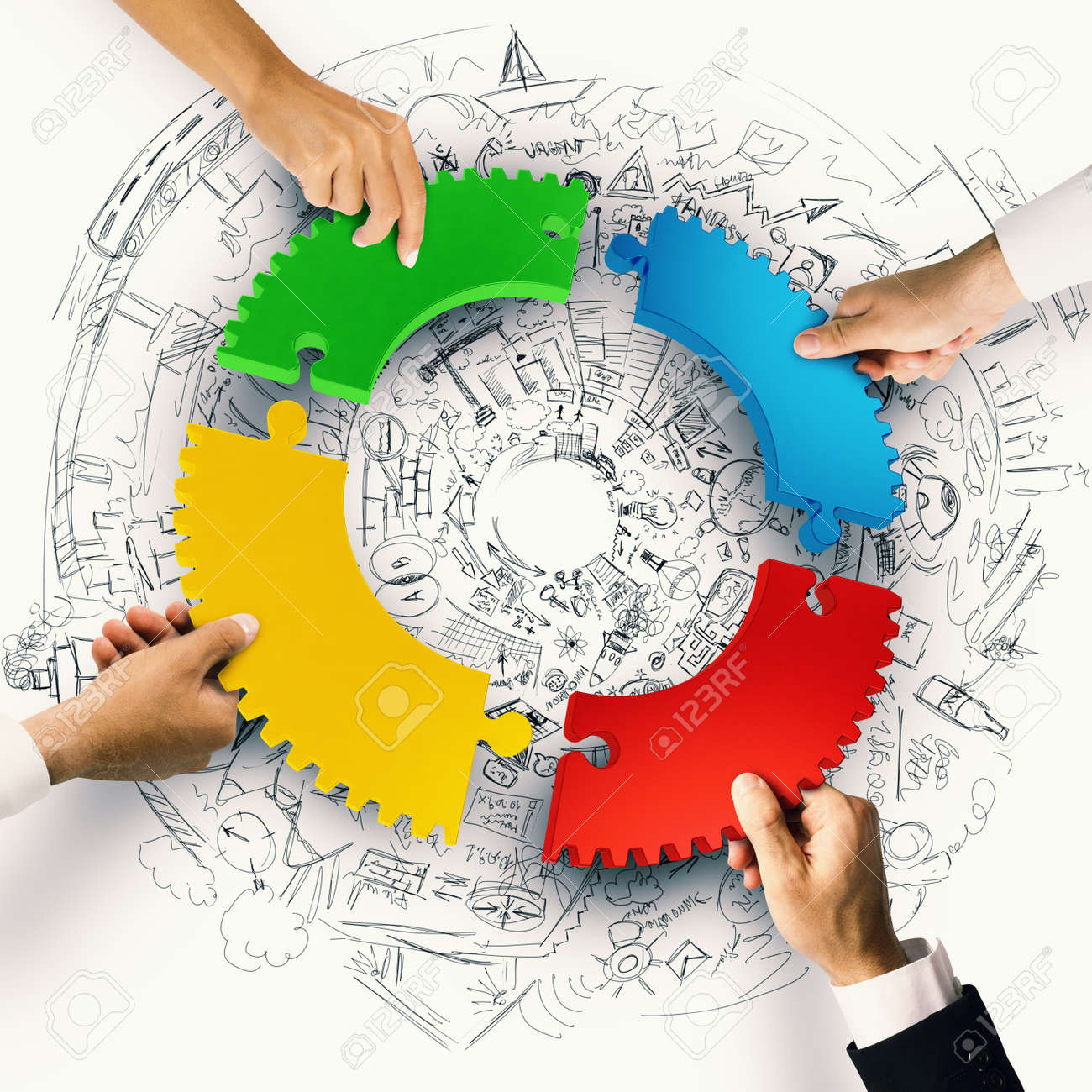 Business people join the colorful puzzle pieces of gear. Concept of integration. 3D Rendering Standard-Bild - 62101473