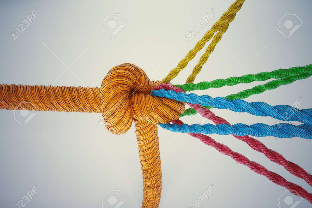 3D Rendering different colored ropes tied together with a knot - 63506796