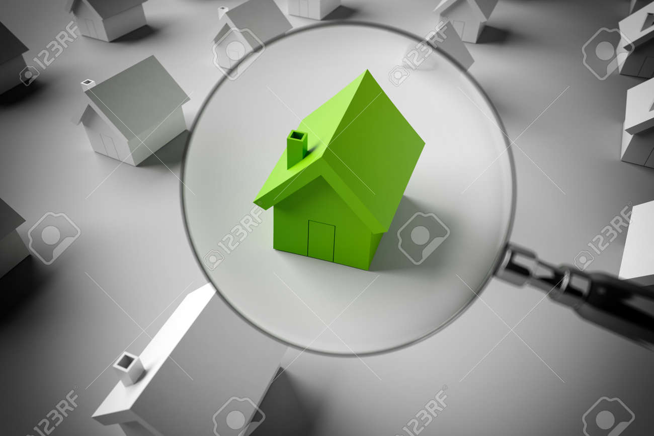 3D Rendering magnifying glass to zoom in on a model of a house Standard-Bild - 63497994