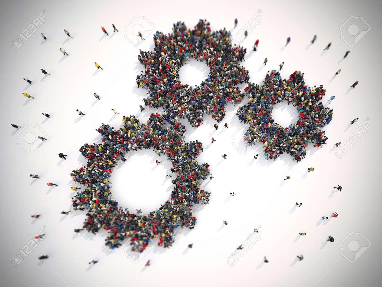 3D Rendering of people united form two gears Standard-Bild - 63498003