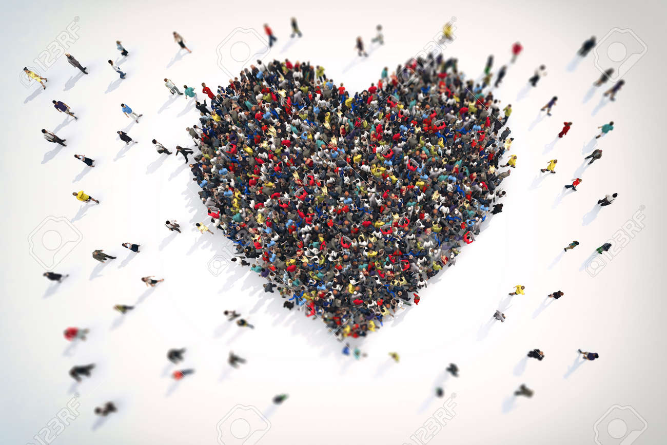 3D Rendering crowd of people that form the heart symbol of love Standard-Bild - 64803537