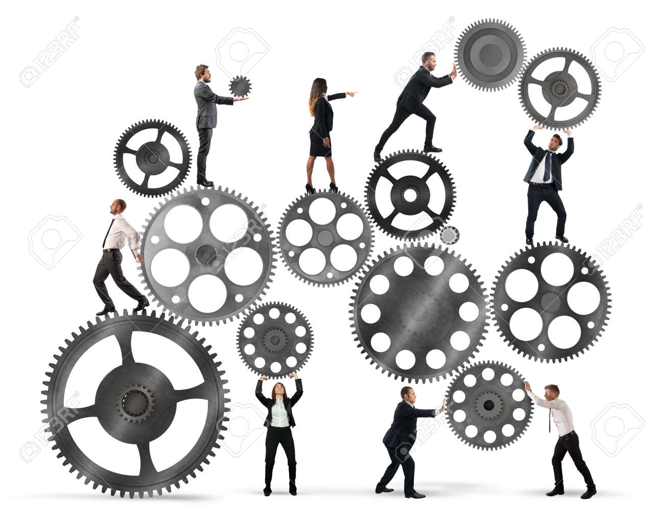 Teamwork of businesspeople work together to a system of gears Standard-Bild - 63522491