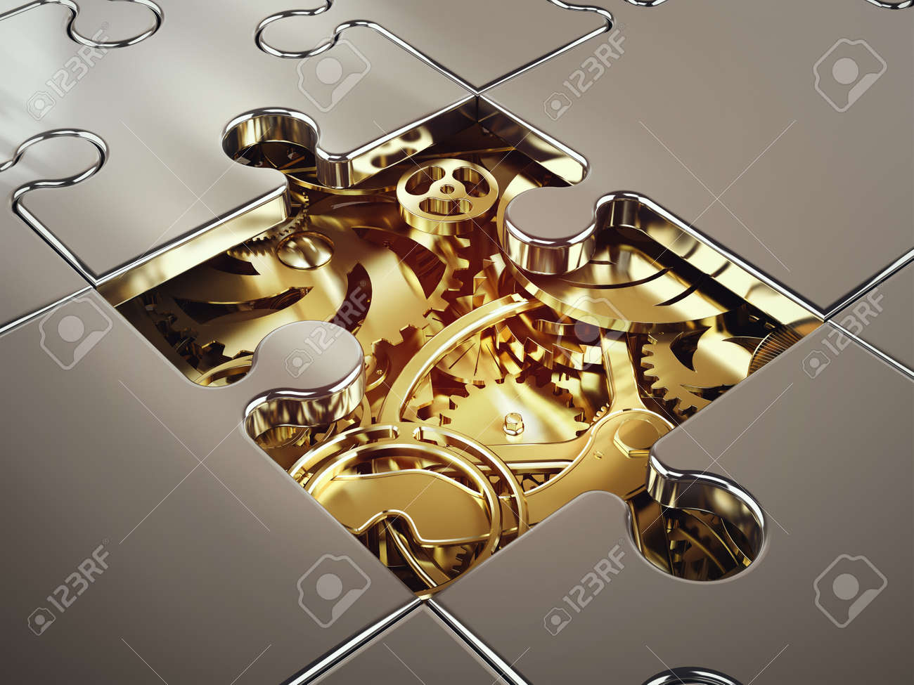 3D Rendering of System of golden gear covered by a puzzle. concept of cooperation between systems Standard-Bild - 63888840