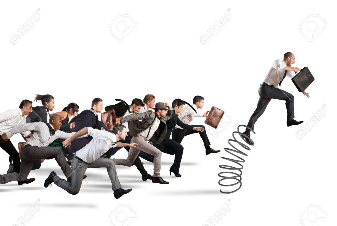 Businessman jumping on a spring during a race with opponents - 64803700