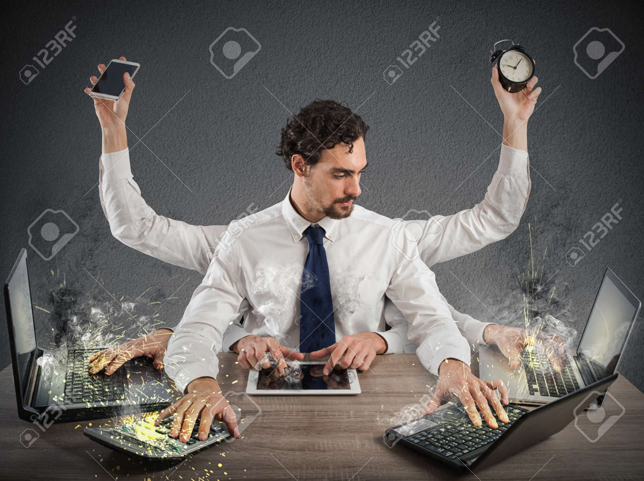 Businessman stressed out from too much work Standard-Bild - 67132430