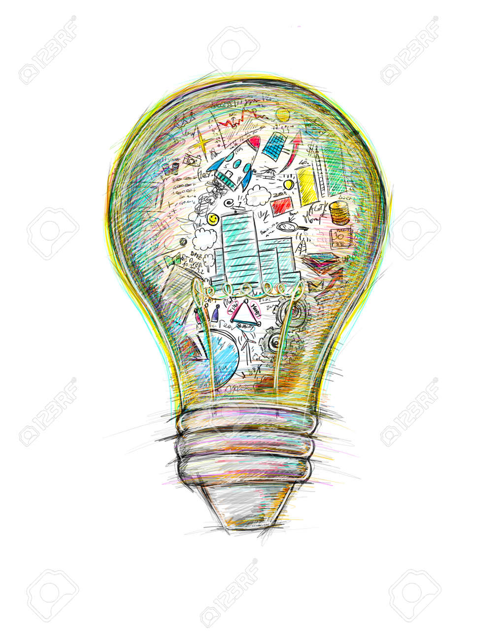 Lightbulb drawn and colored with business sketches - 68421971