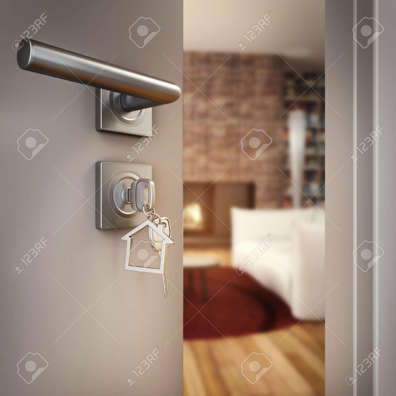 3D Rendering Open door with key on the living room of a house Standard-Bild - 66762568