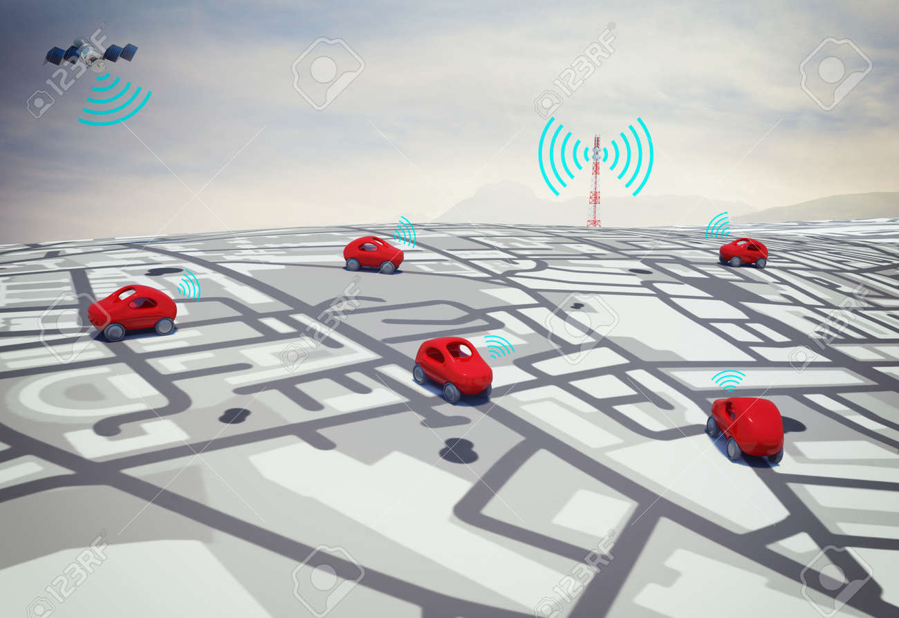 3D Rendering cars on the road with path traced by satellite Standard-Bild - 66484653