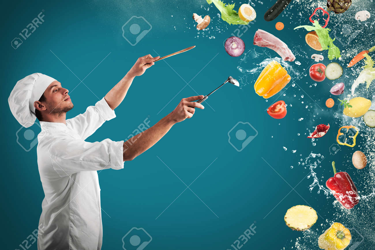 Chef creates a musical harmony with food Standard-Bild - 66762823