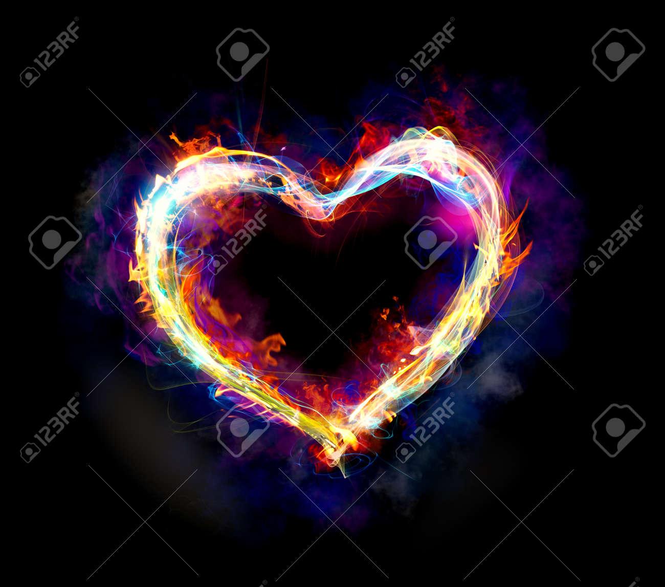 Corazón Con El Colorido De Movimiento Luz Y El Fuego Sobre Un Fondo