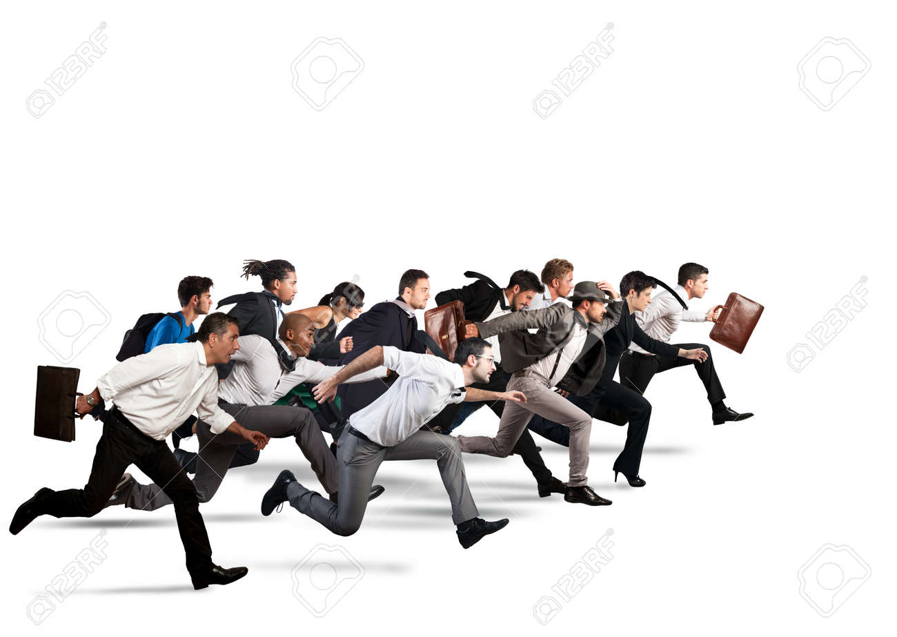 Business people run together in the same direction - 66763211