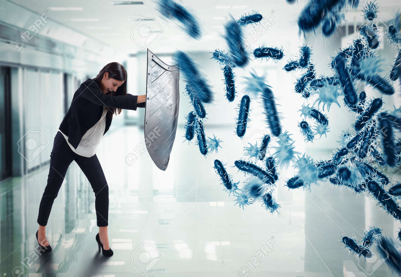 3D Rendering. woman protects with the shield by an attack of bacteria Standard-Bild - 66763514