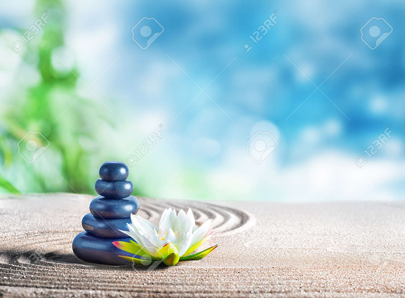 Therapy Relaxing Spa Treatment With Oriental Stones On The Sand Stock Photo Picture And Royalty Free Image Image 66762272
