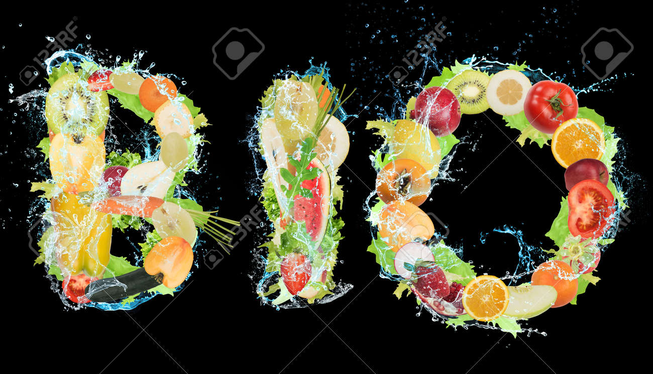 Fruit and vegetables forming the word bio. Healthy Bio food for wellness concept - 66765393