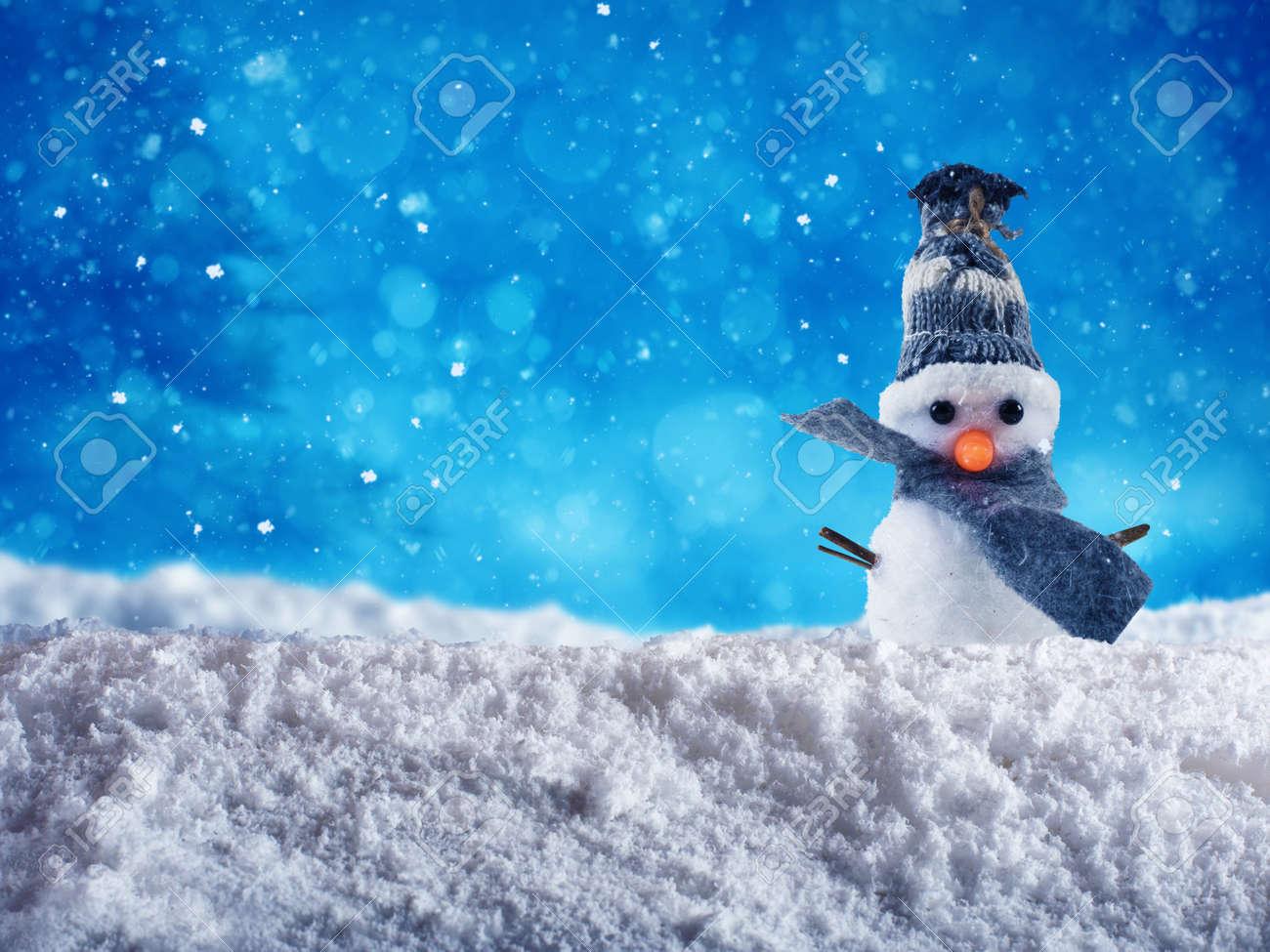 Netter Schneemann Mit Hut Und Schal Wünscht Frohe Weihnachten Auf ...