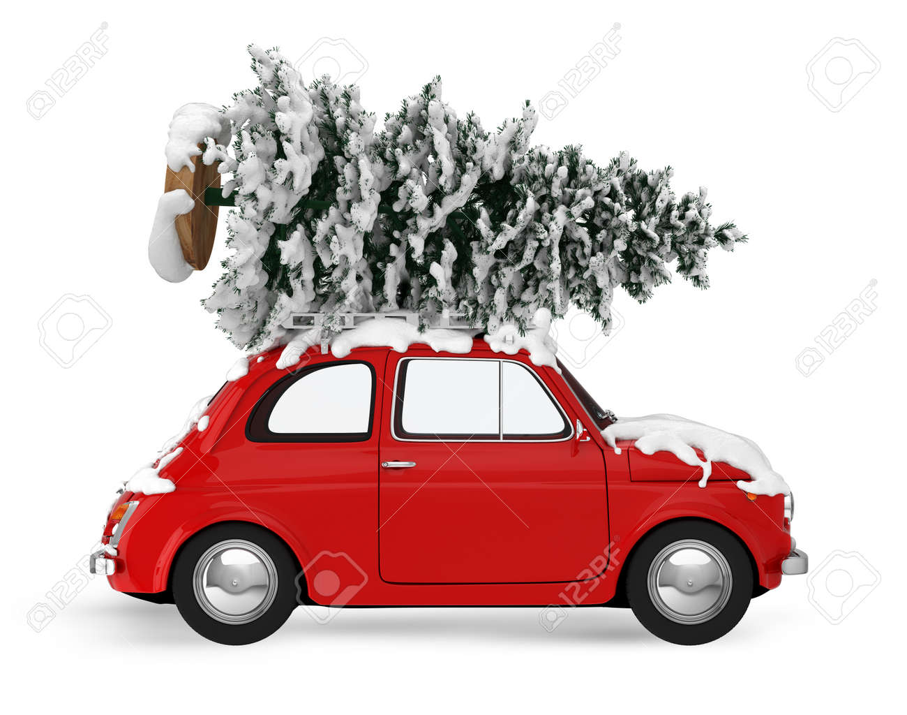 Christmas Tree On The Roof Of A Vintage Red Car Xmas Holiday Stock Photo Picture And Royalty Free Image Image 70897951