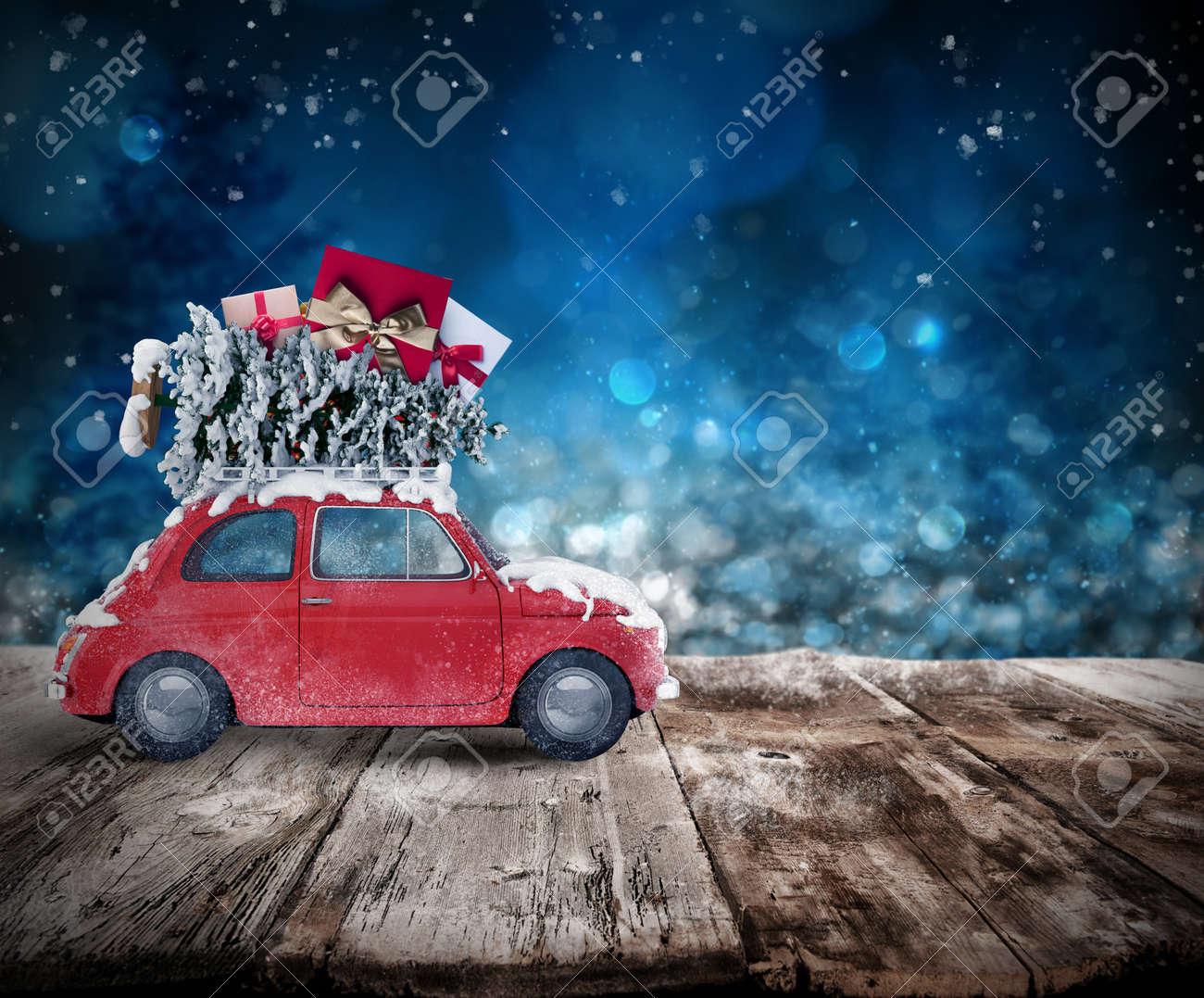 Christmas tree and presents on the roof of a car on wooden floor. Xmas holiday travel concept. 3D rendering Standard-Bild - 67416735