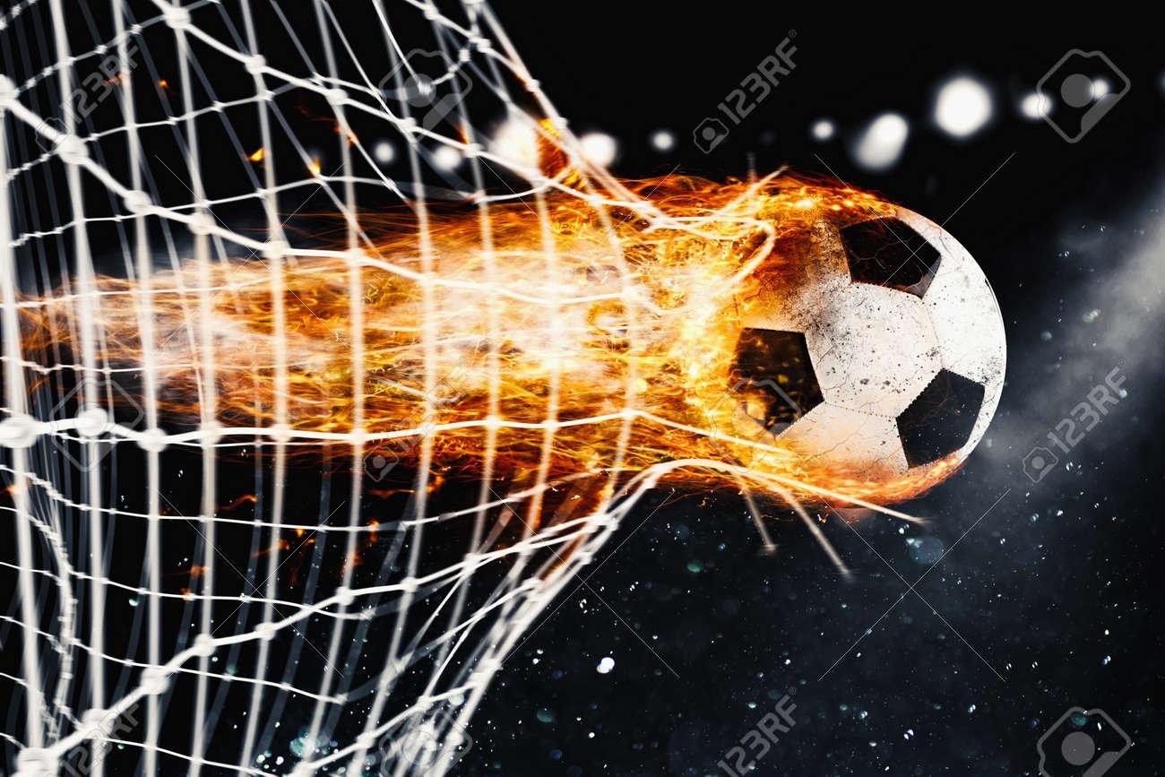 Soccer fireball scores a goal on the net - 71737607