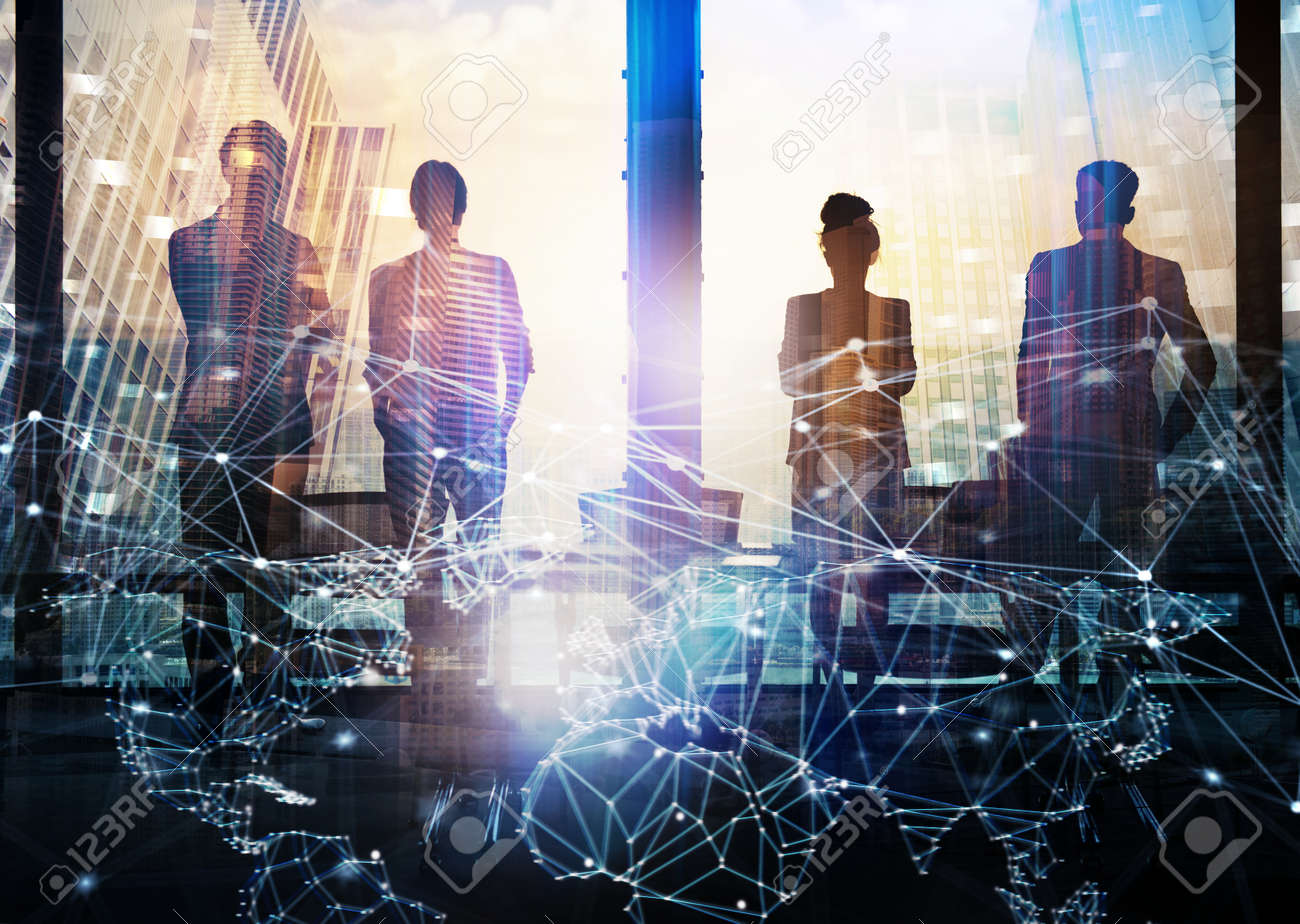 Group of business partner looking for the future with network digital effect - 83141208