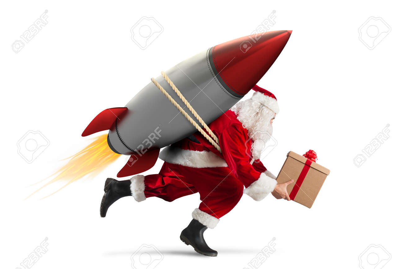 Fast delivery of Christmas gifts ready to fly with a rocket isolated on white background Standard-Bild - 83592291