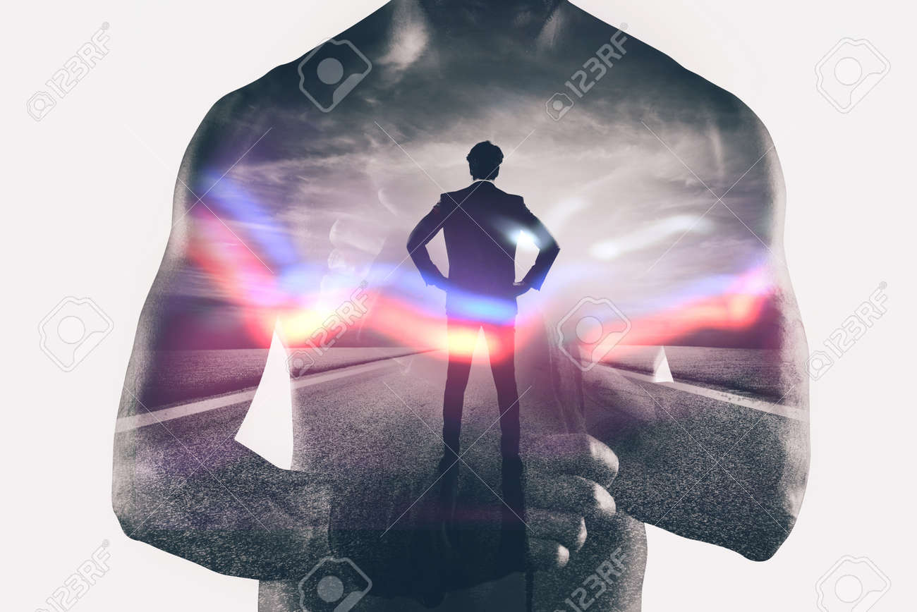 Power and determination of a fighter businessman. Double exposure - 86146104