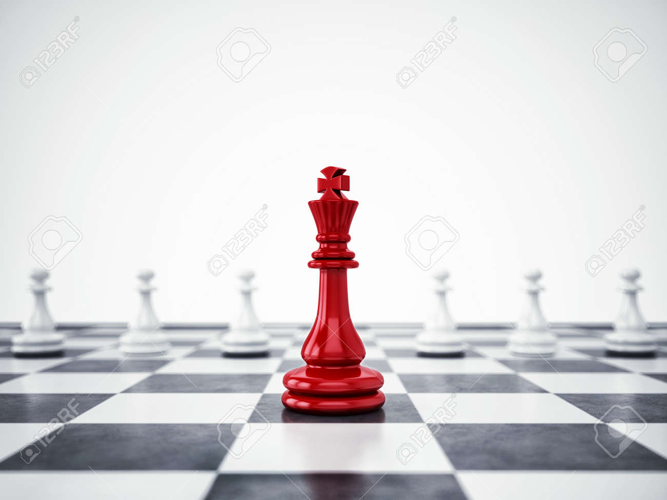 Red pawn ahead of white pawns. 3D Rendering - 89626534