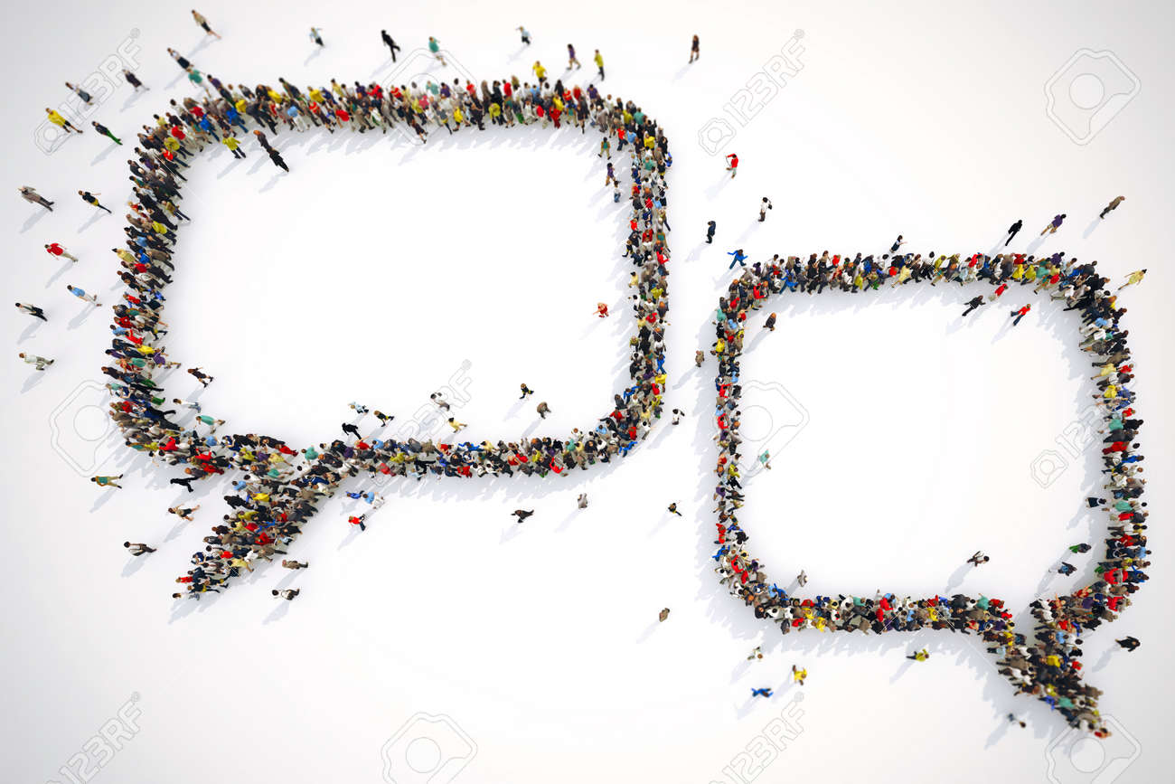 Many people together form bubbles text. 3D Rendering - 88672377