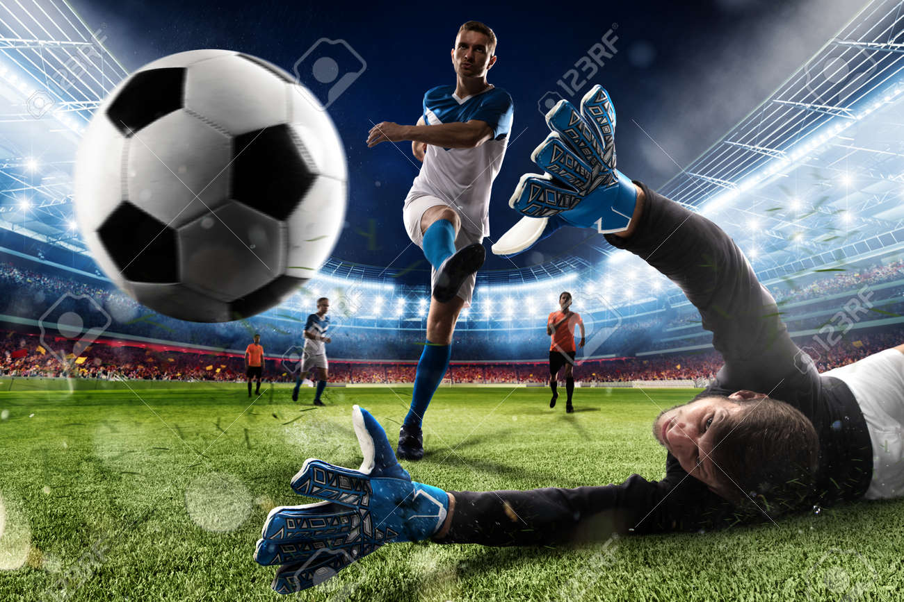 Goalkeeper kicks the ball in the stadium - 89721182