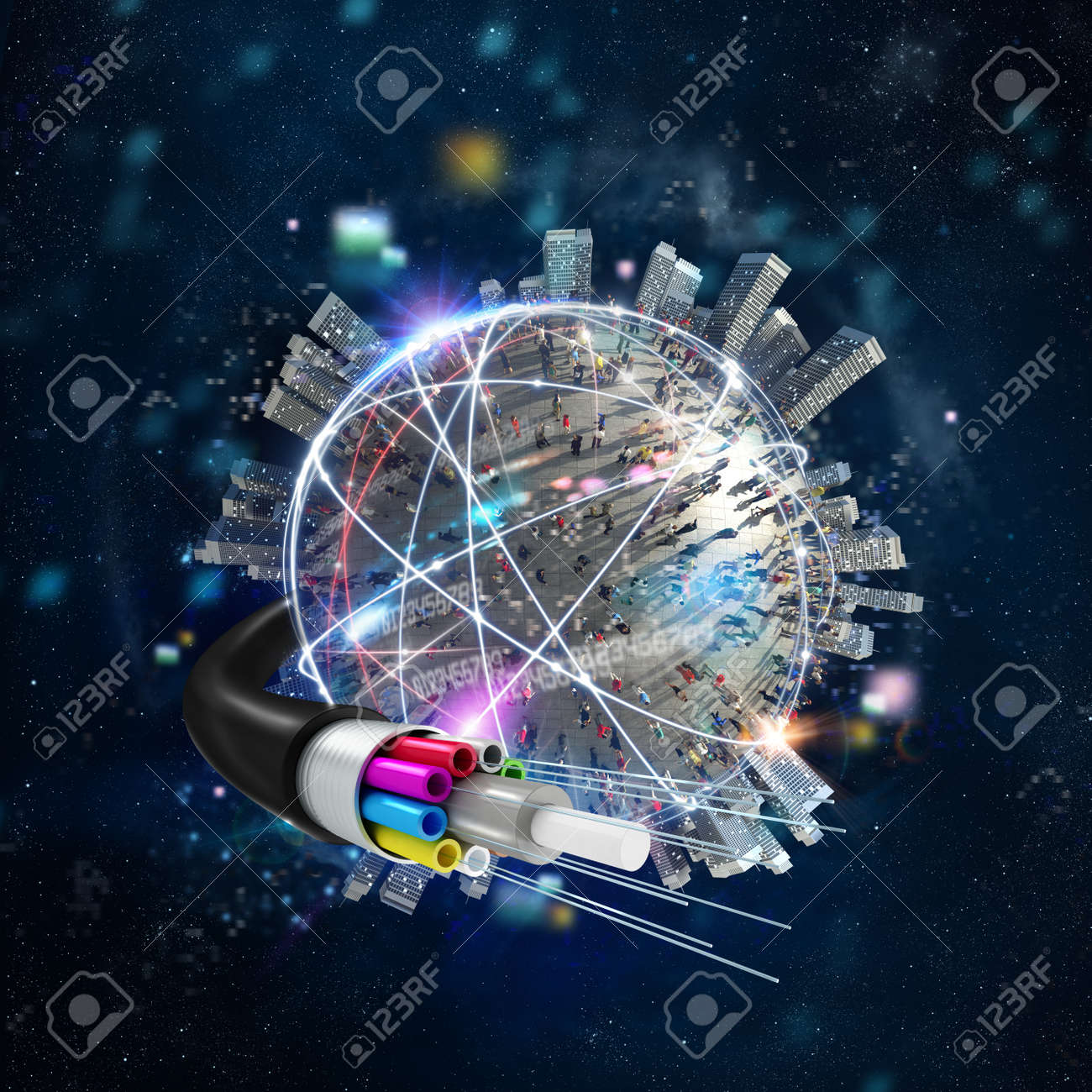 Fast internet worldwide connection with the optical fiber - 93740731
