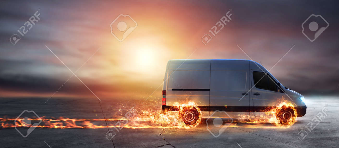 Super fast delivery of package service with van with wheels on fire - 95068635
