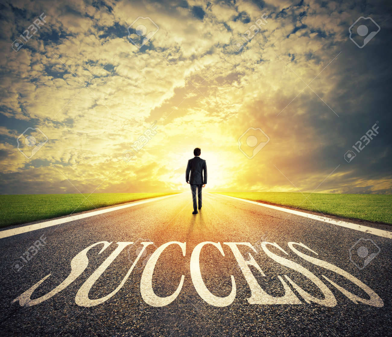 Man walks on a success way. Concept of successful businessman and company startup - 97134554