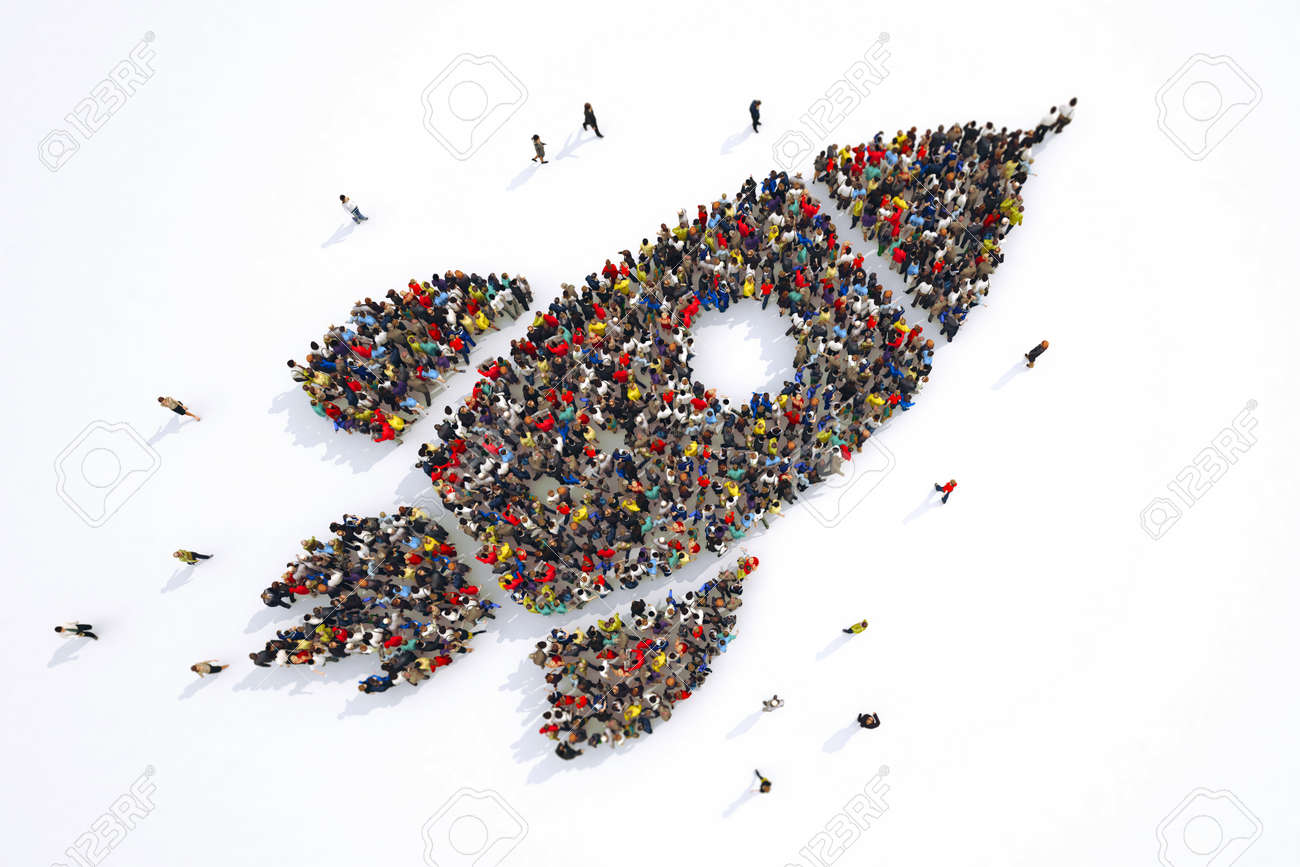 Many people together in a rocket shape. 3D Rendering - 97505008