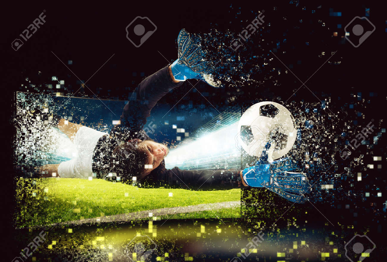 Pixelated image of a goalkeeper who try to catch the ball - 102368580