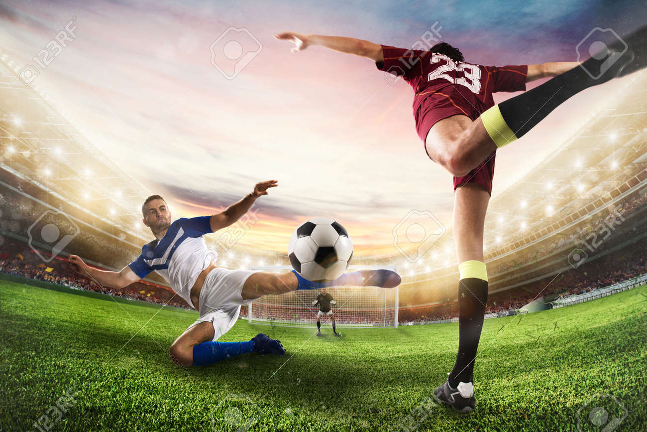 Soccer striker hits the ball with an acrobatic kick. 3D Rendering - 103092019