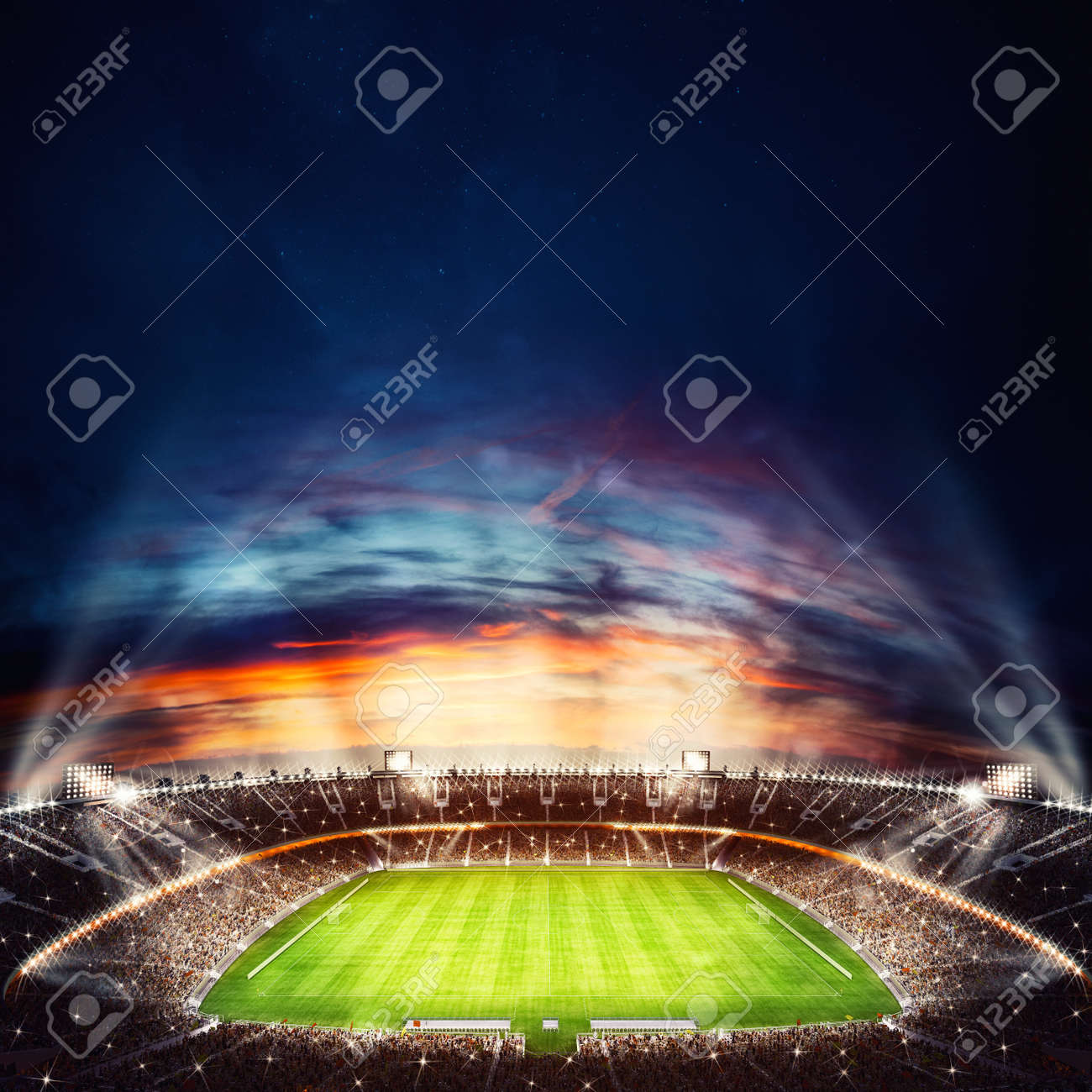 Top view of a soccer stadium at night with the lights on. 3D Rendering - 103285548