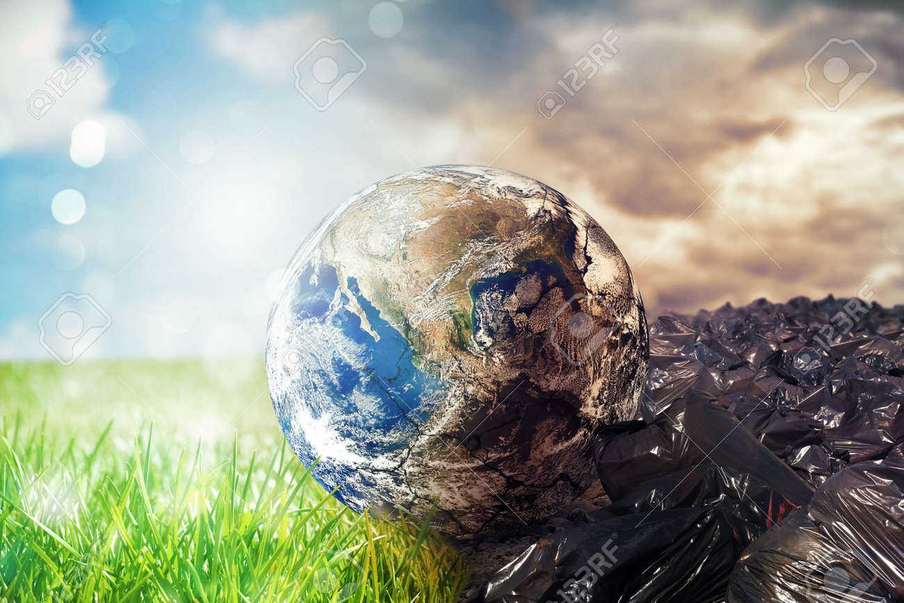 Earth is chancing due to pollution and undifferentiated trash. Save the World. World provided by NASA - 116930272