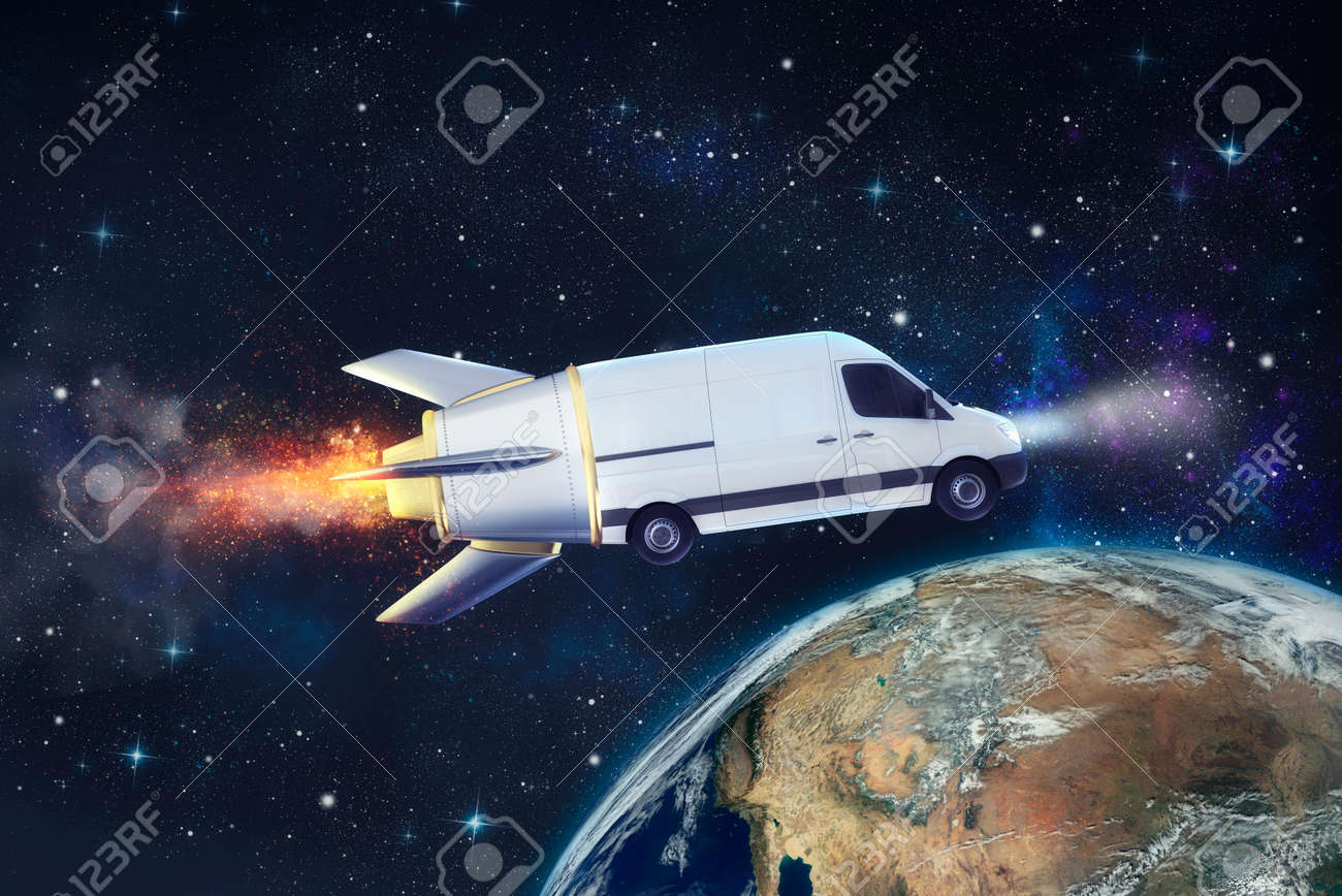 Super fast delivery of package service with flying van like a rocket. - 121931308