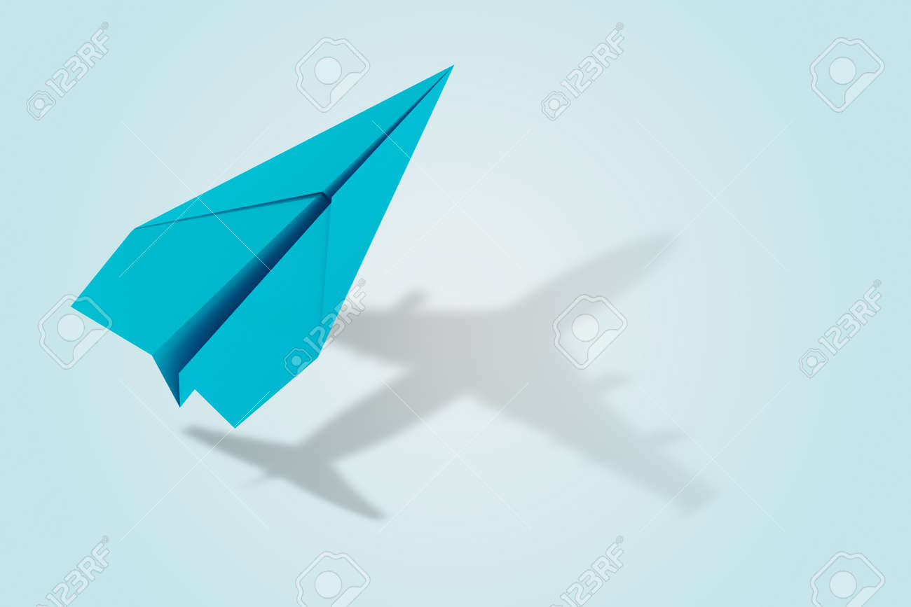Ambition and target concept with paper plane. 3d rendering - 125821462