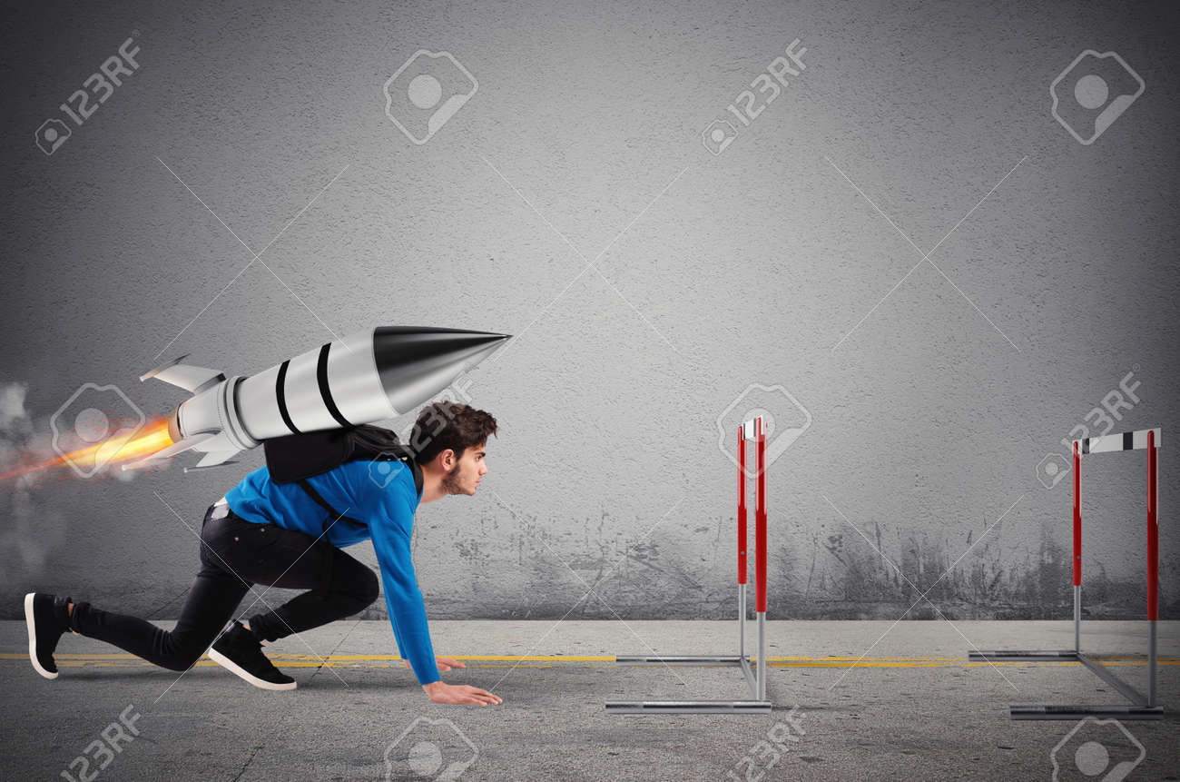 Student overcomes obstacles of his studies at top speed with a rocket - 134891664