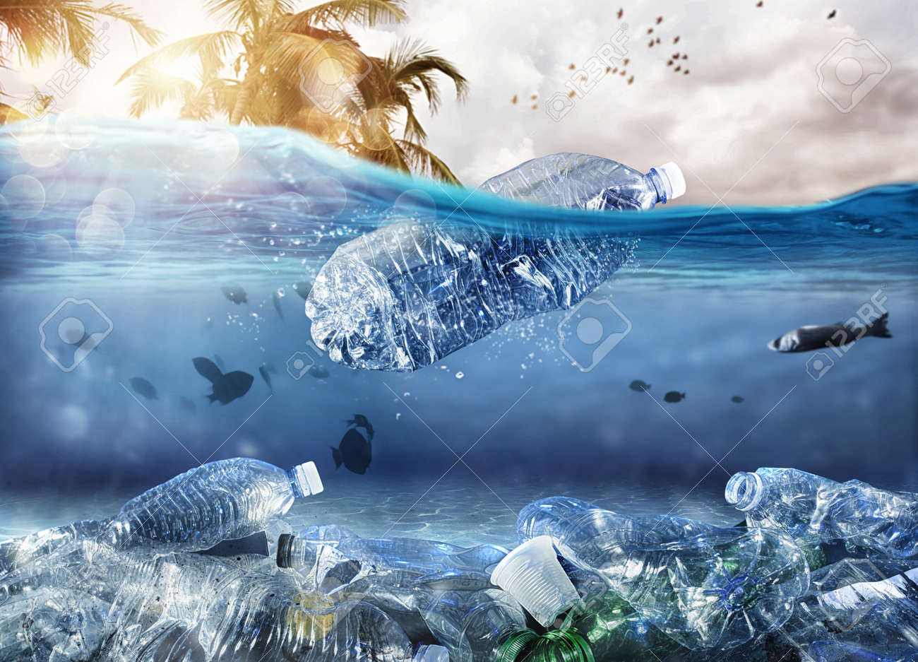 Floating bottle. Problem of plastic pollution under the sea concept - 127977816
