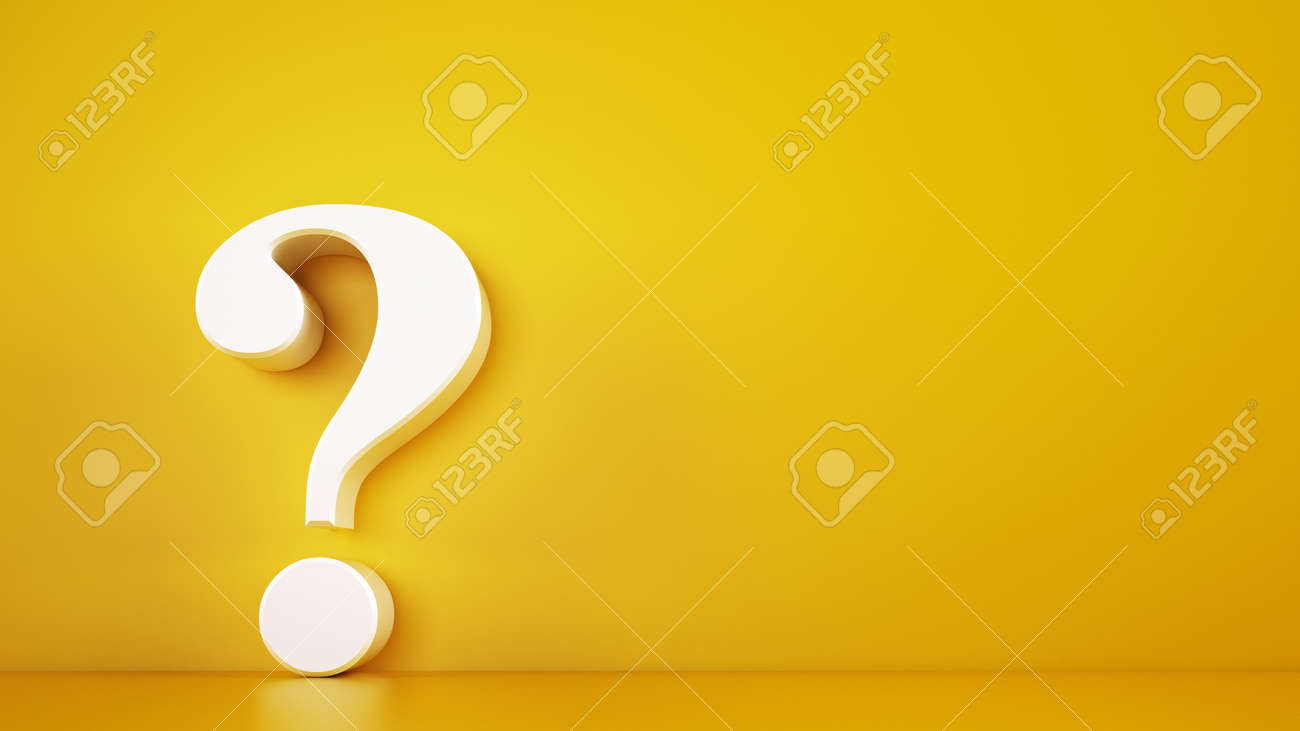 Big white question mark on a yellow background. 3D Rendering - 128603210