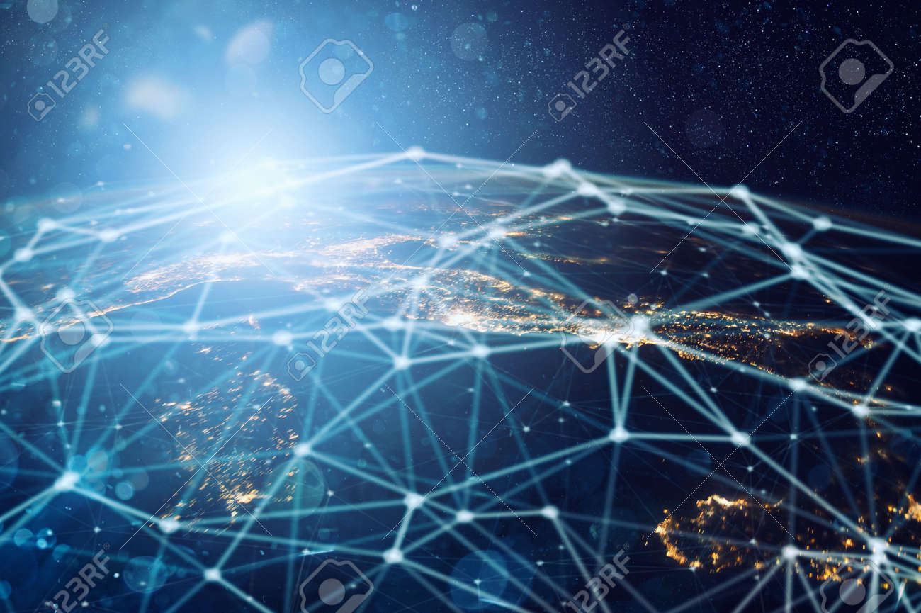 Abstract internet connection network with motion effects. - 130217836
