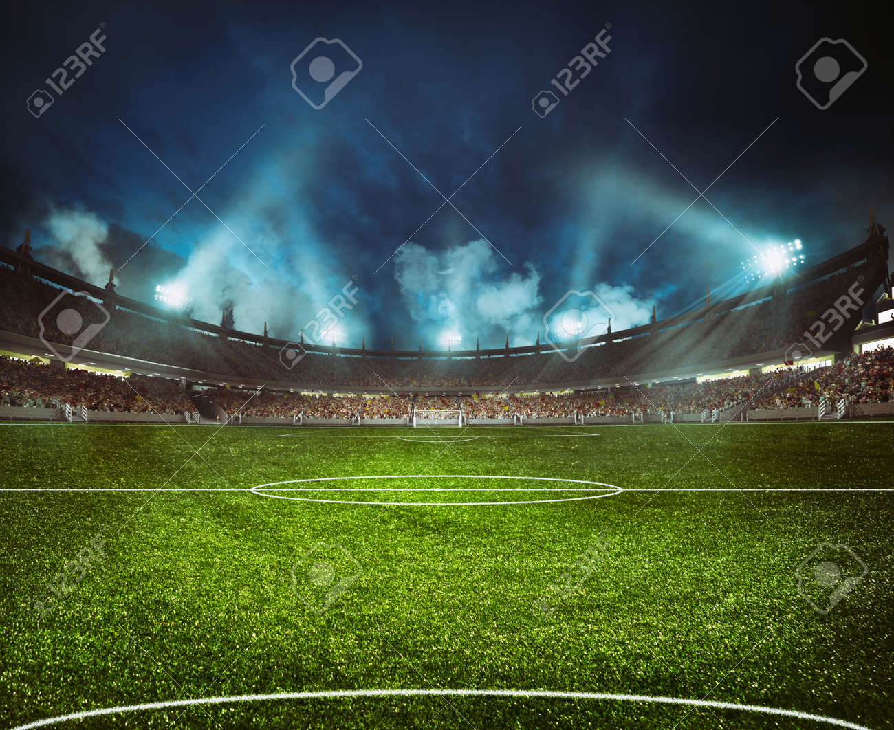 Football stadium with the stands full of fans waiting for the night game - 141700053