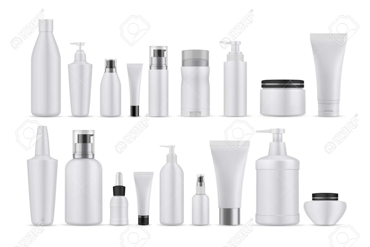 Realsitic cosmetic lotions set. Collection of realism style drawn plastic bottles for beauty and skincare body facial liquid soaps. Illustration of container packages and creams on white background. - 158364257