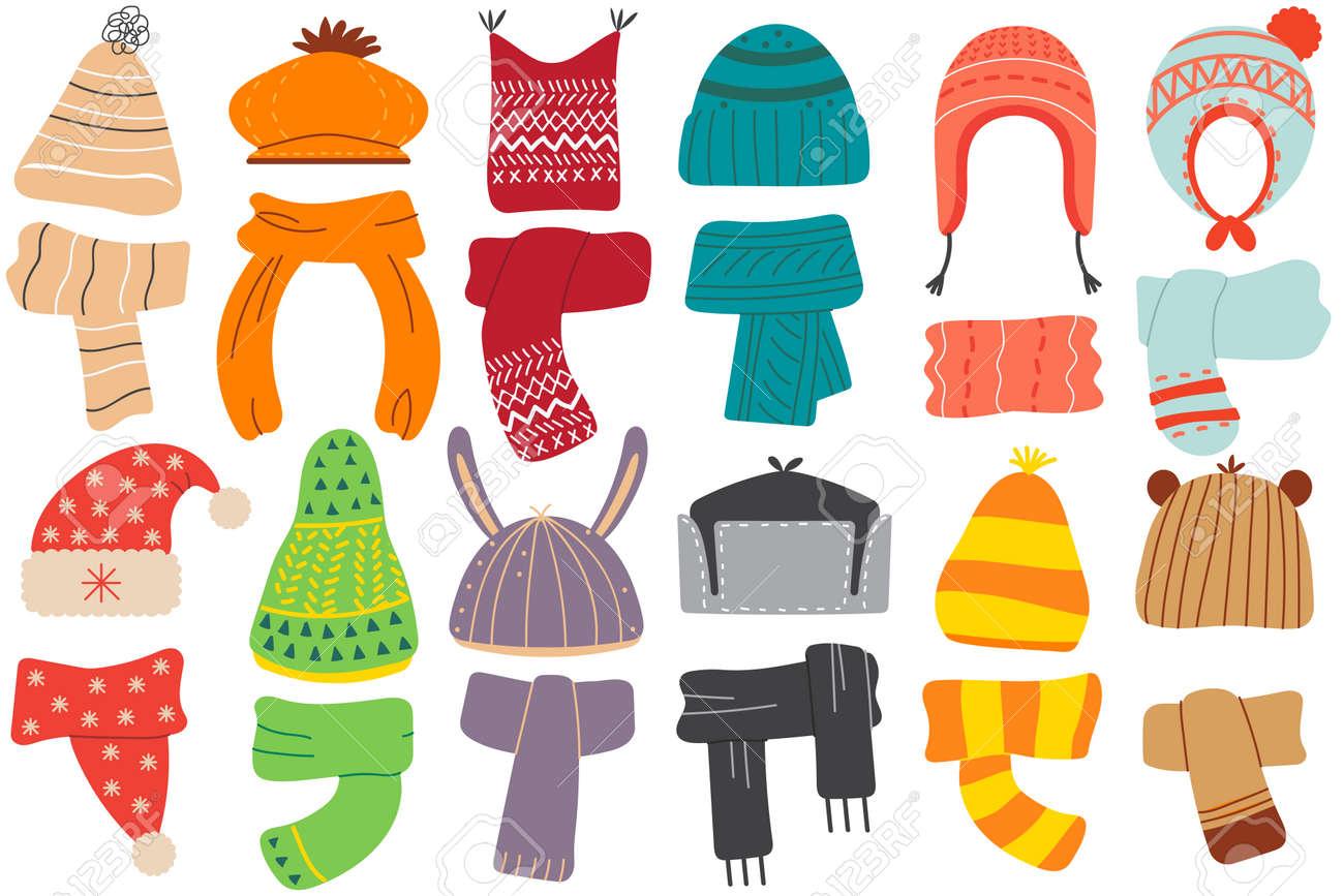 Winter hats doodle set - 158270022